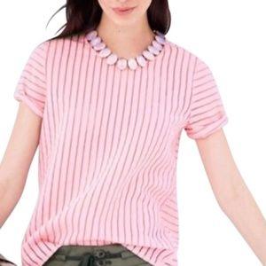 J Crew shadow stripe pink sheer blouse 2